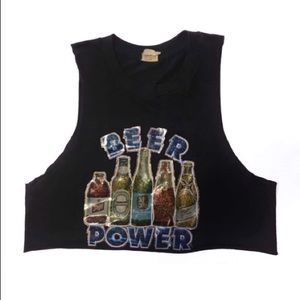 80s Vtg Beer Power Paper Thin Crop Top
